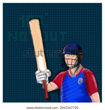 Doodle England Cricket Batter Player And 100 Not Out Font On Blue Grid Background.