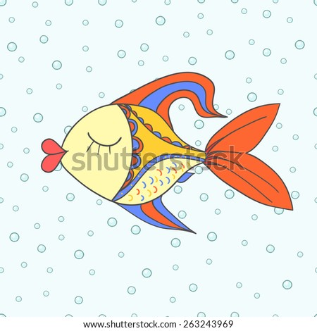 doodle fish hand drawn vector