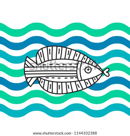 Stock Photo Doodle fish on wave background