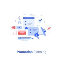 Doodle flat design icon vector illustration concept. Promotion planning.