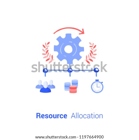 Doodle flat design icon vector illustration concept. Settings Resource Allocation.