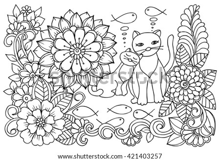 doodle floral art black and