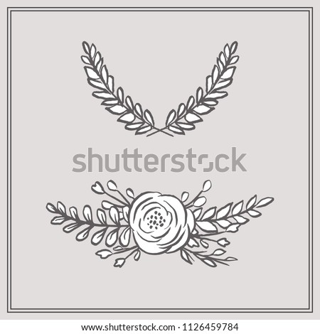 Doodle Floral Bouquet and Wreath - Set includes two beautiful floral designs: one bouquet, and one wreath. These designs have lush flowers and foliage, and were sketched by hand before being vectorize