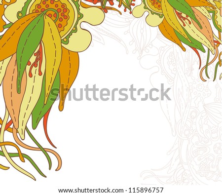 Doodle floral design. Design template. Abstract background.