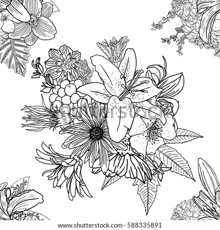 Doodle floral drawing seamless pattern wallpaper. Art therapy coloring page for adults. Endless flowers repetition. Vector. #588335891