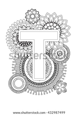 doodle floral letters coloring book for adult mandala and sunflower abc book isolated vector. Black Bedroom Furniture Sets. Home Design Ideas