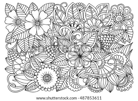 Doodle Floral Pattern In Black And White Page For Coloring Book Adults Zentangle