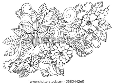 doodle floral pattern in black and white page for coloring book very interesting and - Magical Garden Coloring Book
