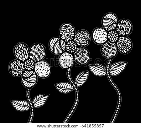 Flower Carpet In Magic Garden Doodle Floral Pattern Black And White Page For Coloring Book Very Interesting
