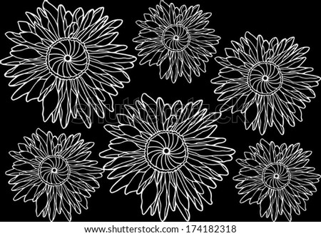 Doodle flower background. Floral seamless texture, endless pattern with flowers, hand drawn sketch, vector illustration, black and white