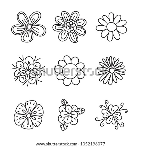 Doodle flower set. Hand drawn line sketch floral collection