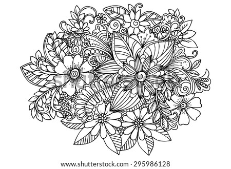 doodle flowers in black and