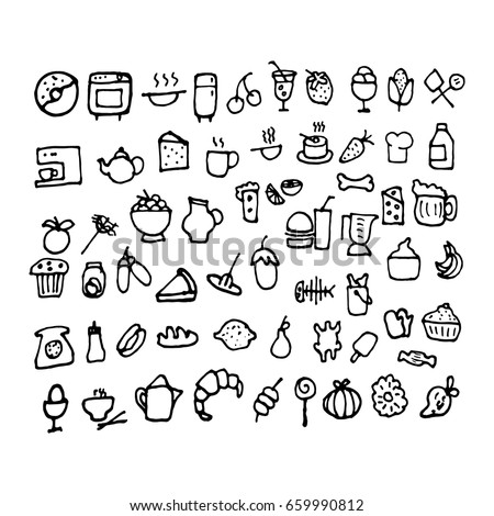 Doodle food icons. Hand-drawn icons of food. Vector illustration