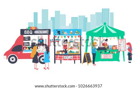 """doodle food street banner consisting of barbecue food truck, som tum isaan stall which means """"thai papaya salad"""", and crepe stall, all in colorful flat style, illustration, vector"""
