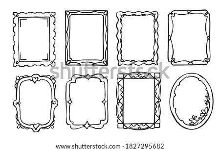 Doodle frame. Vintage hand drawn ornate picture frame in sketch style. Blank black rectangle and oval shape cadre border vector set illustration. Doodle elegant photo ornament with embellishment set Photo stock ©