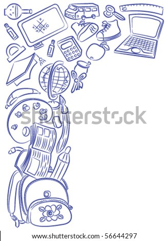 Doodle frame with school objects isolated on white background