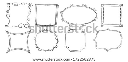 Doodle frames silhouette ornament. Collection decorative frames round, square, polygonal of different trendy geometric vector shapes pencil sketch style. Foto stock ©