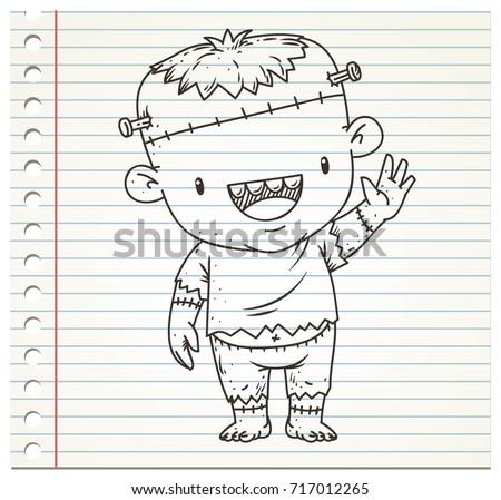 Doodle Frankenstein On Paper