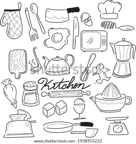 Doodle free hand style for kitchen stuff
