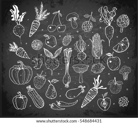 Doodle fruits and vegetables on blackboard background. Vector sketch illustration of healthy food. #548684431