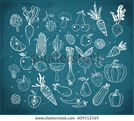 Doodle fruits and vegetables on blackboard background. Vector sketch illustration of healthy food.
