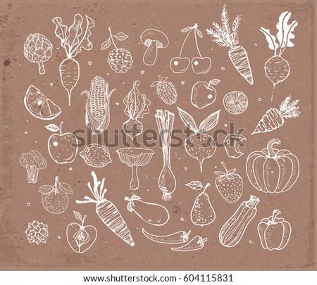 Doodle fruits and vegetables on brown parcel paper. Vector sketch illustration of healthy food. #604115831