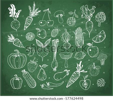 Doodle fruits and vegetables on green blackboard background. Vector sketch illustration of healthy food.