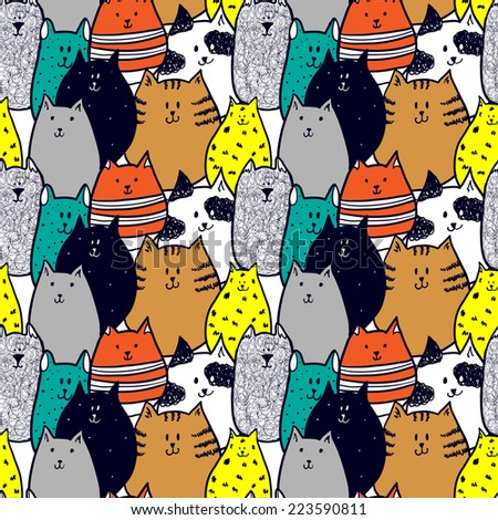 doodle funny cats seamless