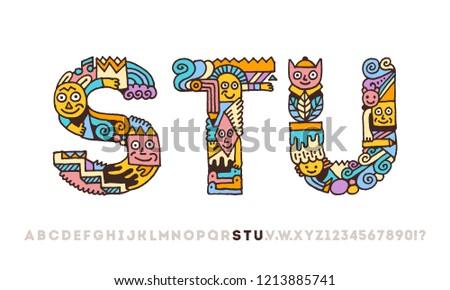 c1ab4c2cd Doodle Funny Graphic Artistic Alphabet Letters S T U. Outline Color Vector  Illustration.