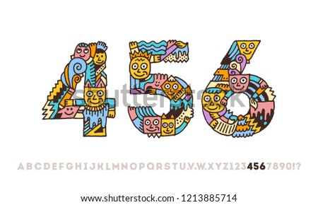 aa9987306 Doodle Funny Graphic Artistic Alphabet Numbers 4 5 6. Outline Color Vector  Illustration.