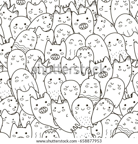 doodle ghosts seamless pattern