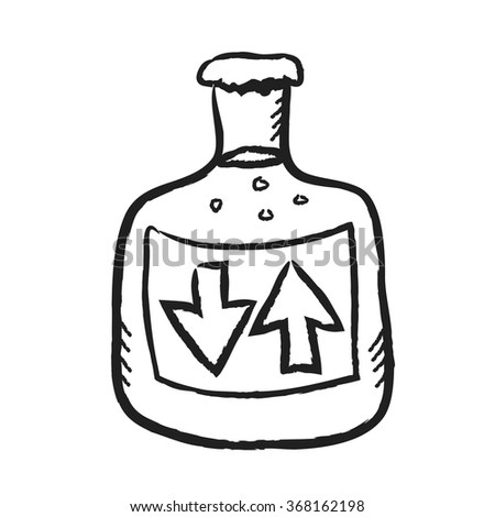 doodle glass bottle with label