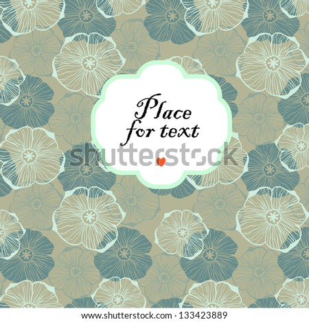 Doodle graphical flowers background with a frame