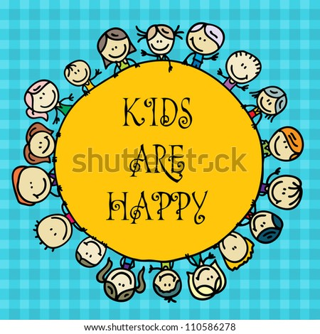 Doodle greeting card with happy winner kids around star