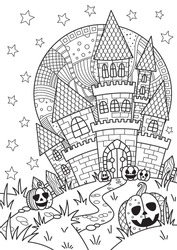 Doodle Halloween coloring book page spooky castle and halloween pumpkins on the full moon. Antistress for adults and children in zentangle style. Black and white contour illustration