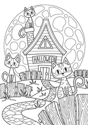 Doodle Halloween coloring book page spooky house and cats on full moon. Antistress for adults and children in zentangle style. Black and white contour illustration. Stock vector