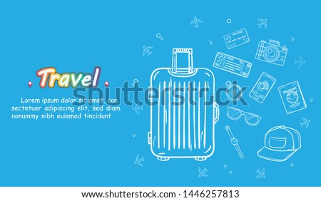 doodle hand draw traveler with luggage. plane check in point travel accessories around the world concept on Background Design. blank space for text and content.