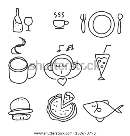 doodle hand drawing foods drink icon set