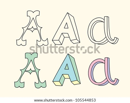 Doodle hand drawn alphabet in pastel tints: letter A
