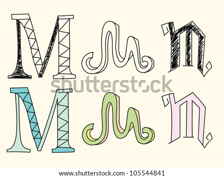 Doodle hand drawn alphabet in pastel tints : letter M