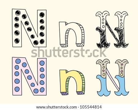 Doodle hand drawn alphabet in pastel tints : letter N