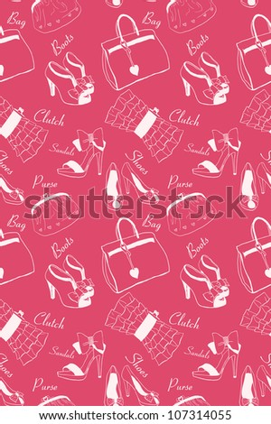 Doodle hand drawn girls' shoes and handbags seamless pattern.