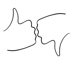 doodle hand drawn like dislike icon in cartoon style