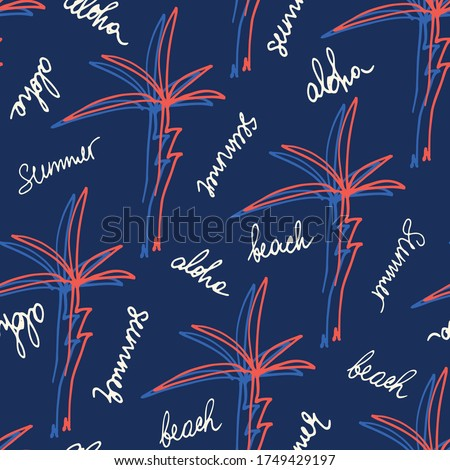 Doodle Hand Drawn Palms Hawaiian Beach Shirt Vector Seamless Pattern. Retro Surf Tropical Vacation Print for Fashion, Textile. Playful Eighties Style Summer Background. Handwritten Lettering Aloha