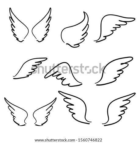 doodle hand drawn Sketch angel wings. Angel feather wing, bird tattoo silhouette. Linear fly winged angels, flying heaven cartoon vector icons