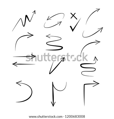 Doodle hand drawn vector arrows. Set black arrows on white background