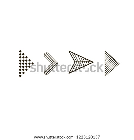 Doodle hand drawn vector arrows. Set black arrows on white background. Isolated vector Illustration. Arrow icon #1223120137