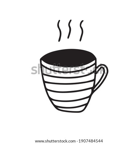 Doodle hand drawn  vector icon cup of coffee tea. Cozy stripped mug for hot drink black and white. Foto stock ©