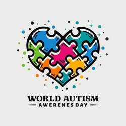 Doodle hand drawn world autism awareness day illustration with puzzle pieces in love, heart shape
