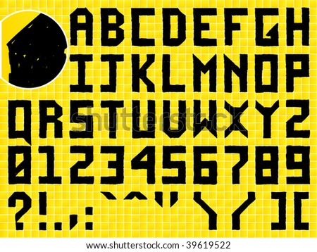 Doodle Hand Made Alphabet on Tiled Background